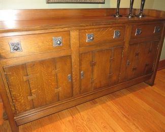 $2995  STICKLEY Gustav Design Mission Oak Sideboard # 47225EC  Hammered Copper Hardware Approx: 75w x 23d x 40h
