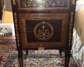 One of 2 French Inlaid Side Tables