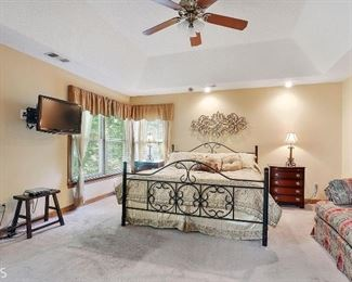 Wrought Iron king bed and Mahogany side chest