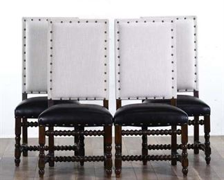 Set 4 Gothic Revival Spindle Dining Chairs W Nailhead 2