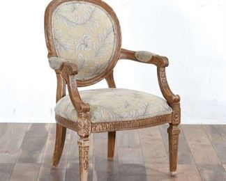 Carved French Provincial Balloon Back Armchair