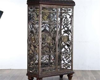 Scrolled Wrought Iron Mirrored Curio Cabinet W Lighting