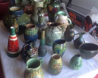 Variety of pottery and glass