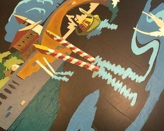 Venitian Scene Hand Painted Mid Century Metal Tray