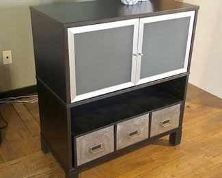 IKEA Office 2 door cabinet, with added 3 drawers. Black /Brown