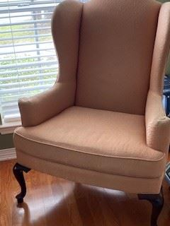 "12.   Pair of wing back chairs (some wear)  45""H x 33""W x 32""D	$95"