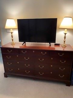 "1.        Dresser by White Furniture  34.5""H x 67.5""W x 20""D $295"
