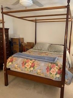 "4.       Queen size four poster bed by White Furniture  86.5""H x 63""W x 83""D $395"