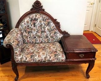 """Antique Victorian Storage Bench With Rolled Arm, Carved Wood Trim And Carved Legs, 47"""" x 52"""" x 23"""""""