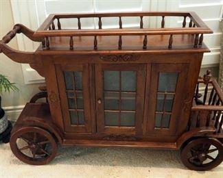 """Mahogany Stagecoach Bar/Tea Cart, 33"""" x 51"""" x 19"""""""