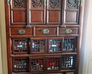 """Antique Oriental Storage Hutch With Dovetail Construction, Accent Carving, And Brass Hardware, 72"""" x 39.5"""" x 20.5"""""""