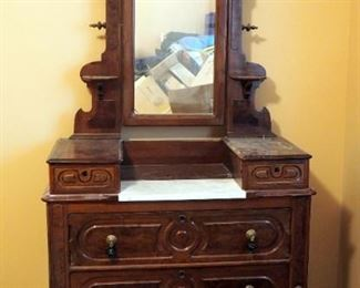 """Antique Solid Wood 5-Drawer Chest Of Drawers With Tilt Mirror And Marble Vanity Top, 84"""" x 39.5"""" x 18"""""""