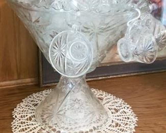 Large vintage Punch bowl set with stand, bowl, cups and hangers
