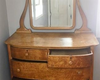 Vintage Curved Front Clawfoot Dresser with Mirror