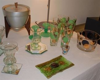 Russel Wright barware and vintage ice bucket