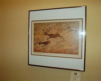 One of 12 hand-painted prehistoric cave drawings by Douglas Mazonowicz
