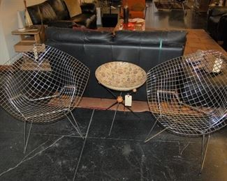 Diamond wire chairs for Knoll by Bertoia