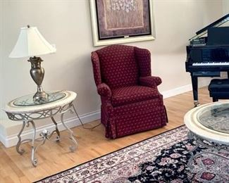 There are two matching Ethan Allan wingback chairs. Excellent condition. The Bregenz end tables and cocktail tables from Norwalk Furniture. GORGEOUS!!