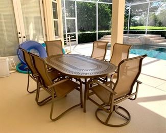 """Windward Design Group patio set """" Punched Mayan"""" aluminum with 6 matching chairs. All in excellent condition!"""""""