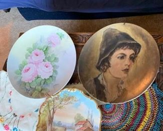 3 Porcelain Plates and Doilies