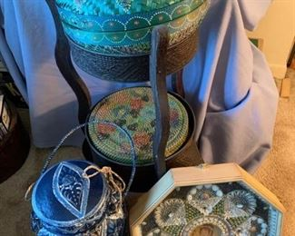 Baskets, Stand, Shell Art