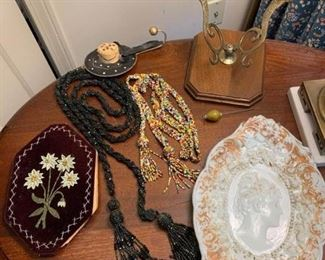 Beaded Necklaces, Shaving Paper, Mil Glass, Brass