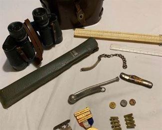 Binoculars, Medals, Bracelet Pins