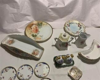 Creamer and Sugar, Serving Dish, Painted Porcelain