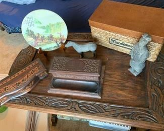Desk Box, Chinese Clay Horse, and Soldier