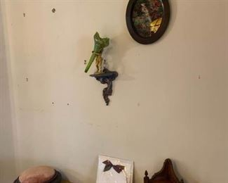 Footstool, Shelf, Cherub Vase