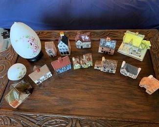 Miniature Houses and Satin Glass Eggs