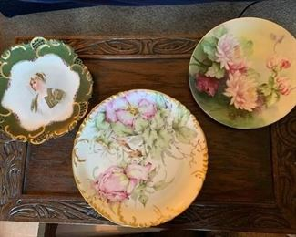 Porcelain Portrait Plate and 2 Floral Plates