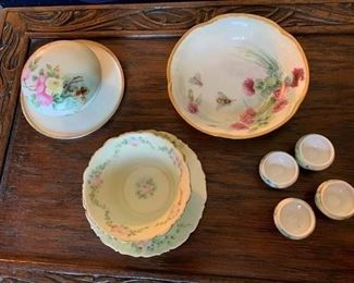 Porcelain Powder Box, Bowl, Salts