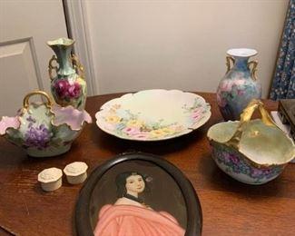 Porcelain Vases, Plate, Baskets