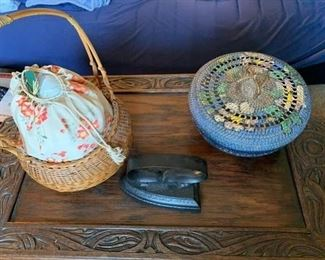 Two Sewing Baskets and a Sad Iron