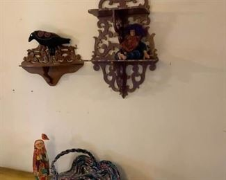 Wall Shelves, Carved Wood Doll, Resin Doll