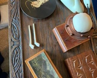 Wood Boxes, Signed Swan, Clay Pipes