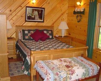 Queen oak bedroom suite, including headboard, footboard, wood rails, triple dresser & mirror, TV hutch/ armoire, 2 bedside tables
