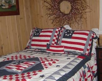 Antique double bed wrought iron headboard & footboard with iron side rails, new double mattress & box springs, quilts