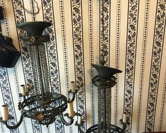 two of those very hard to display very old chandeliers