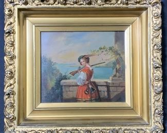 Antique Hand Painted Oil Portrait