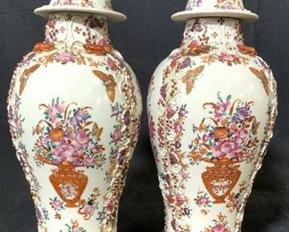 Pair Antique Chinese Famille Rose Urns, C1800's