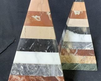 Pair Striped Marble Obelisks, Ornaments