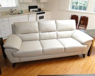 Raymour and Flanigan off white Leather Sofa $500 fairly new!