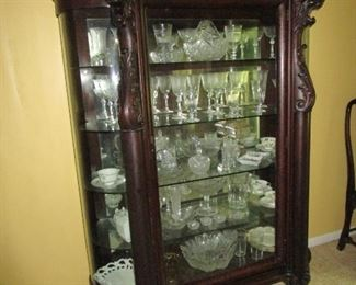 Antique, 1880's Straight Front China/Display Cabinet with Curved Side Glass, Hairy Paw, Ornate Feet.   Mahogany.