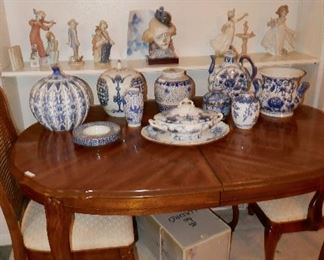 BLUE AND WHITE collection plus nice antique Flow Blue Tureen w/ underplate