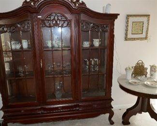 Fine Carved Mahogany Display Cabinet--large but small footprint!