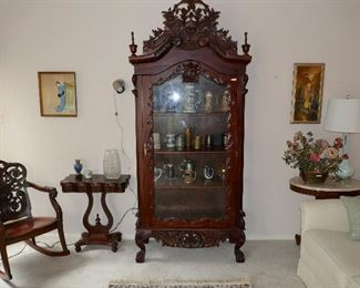 Gorgeous Highly Carved Mahogany Display Cabinet full of Beer Stein Collection