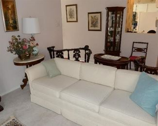Nice White Sofa, Petite Antique Marble Top Table