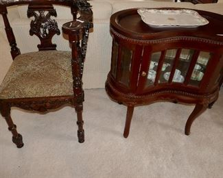 Nice carved Mahogany Corner Chair, Nice Mahogany w/ beveled glass kidney vitrine style table full of limoges